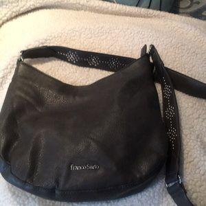 Crossbody bag in faux grey leather